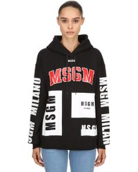 MSGM - Logo Printed Cotton Sweatshirt Hoodie - Lyst