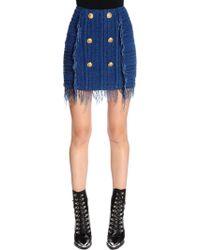 Balmain - Fringed Knit Mini Skirt - Lyst
