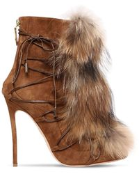 DSquared² - 120mm Riri Suede Lace-up Boots W/ Fur - Lyst
