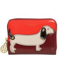 Tory Burch - Dog Zip Around Leather Coin Purse - Lyst
