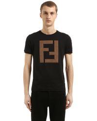 Fendi - Maxi Ff Logo Cotton Jersey T-shirt - Lyst