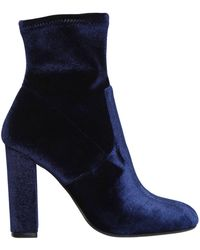 Steve Madden - Edit Velvet Side Zip Block Heel Booties - Lyst