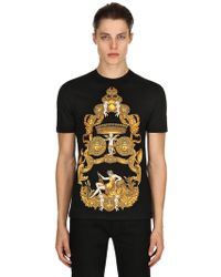 Versace - Baroque Printed Cotton Jersey T-shirt - Lyst