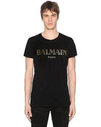Balmain - Printed Cotton Jersey T-shirt - Lyst