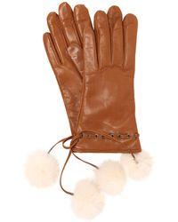 Mario Portolano - Leather Gloves W/ Fur Pompoms - Lyst