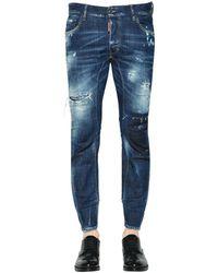 DSquared² 17cm Tidy Biker Destroyed Denim Jeans - Blue