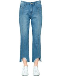 Steve J & Yoni P - Boyfriend Destroyed Hem Denim Jeans - Lyst