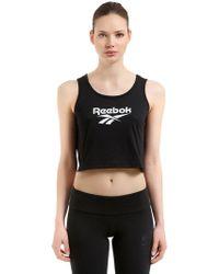 Reebok - Logo Cotton Jersey Blend Crop Top - Lyst