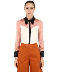 L'Autre Chose - Contrasting Colour Silk Satin Shirt - Lyst