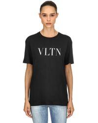 Valentino - Vltn Printed Cotton Jersey T-shirt - Lyst