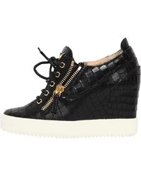 Giuseppe Zanotti - 85mm Croc Leather Wedged Trainers - Lyst