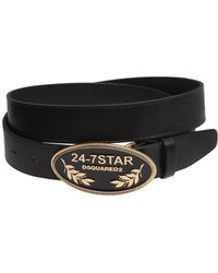 DSquared² - Leather Belt W/ Logo Metal Buckle - Lyst