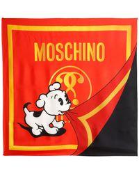 Moschino - Logo Printed Silk Scarf - Lyst