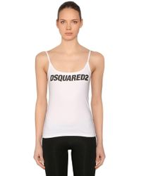 DSquared² - Logo Printed Cotton Jersey Tank Top - Lyst