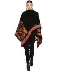 Etro Embroidered Wool Blend Jacquard Shawl - Black