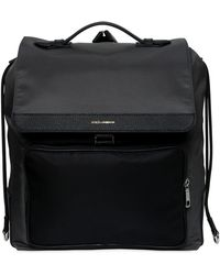 Dolce & Gabbana - Nylon Backpack W/ Leather Pocket - Lyst