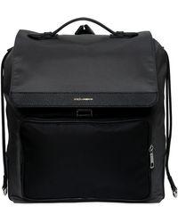 Dolce & Gabbana | Nylon Backpack W/ Leather Pocket | Lyst