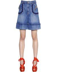 Sonia Rykiel - Shorts In Denim Con Ricami - Lyst