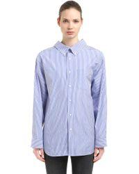 Balenciaga - Swing Collar Striped Cotton Poplin Shirt - Lyst