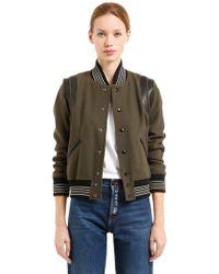 Saint Laurent - Wool Knit Teddy W/ Leather Details - Lyst