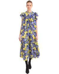 Balenciaga - Flou Purple Poppy Silk Jacquard Dress - Lyst