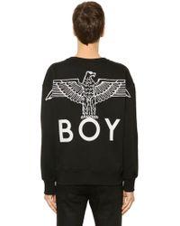 BOY London - Embroidered Cotton Sweatshirt W/ Zip - Lyst