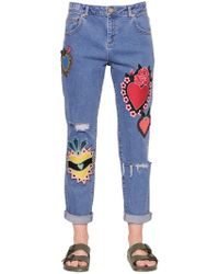 House of Holland - Patch Embroidered Cotton Denim Jeans - Lyst