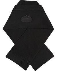 Prada - Wool Rib Knit Scarf W/ Logo Patch - Lyst