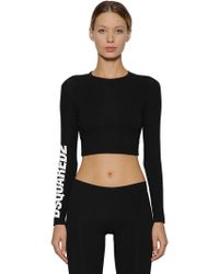 DSquared² - Cropped Logo Print Cotton Jersey Top - Lyst