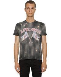 DSquared² - T-shirt Aus Baumwolle Mit Druck Und Rissen - Lyst