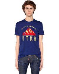 """DSquared² T-Shirt En Jersey De Coton Imprimé """"Utah"""" - Bleu"""