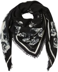 Alexander McQueen - Skull And Roses Silk & Wool Scarf - Lyst