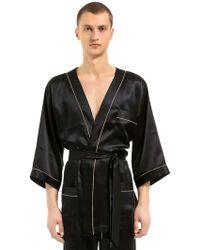 Loretta Caponi - Silk Satin Kimono Pyjama Shirt - Lyst