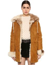 Saint Laurent - Hooded Suede Shearling Jacket - Lyst