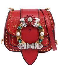 Miu Miu | Dahlia Shoulder Bag W/ Crystal Buckle | Lyst