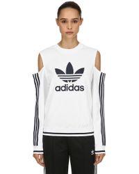 adidas Originals - Cutouts Cotton Blend Sweatshirt - Lyst
