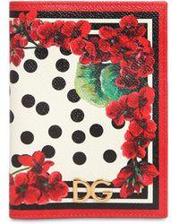 Dolce & Gabbana - Geranium Print Leather Passport Holder - Lyst