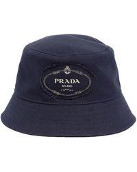 Prada - Logo Cotton Canvas Bucket Hat - Lyst