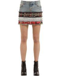 Faith Connexion - Cotton Denim & Tweed Mini Skirt - Lyst