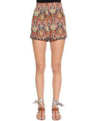 Etro - Paisley Printed Silk Crepe Shorts - Lyst