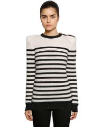 Balmain - Striped Intarsia Knit Sweater W/ Buttons - Lyst