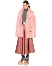 Rochas | Double Breasted Shearling Coat | Lyst