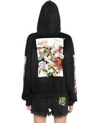 Off-White c/o Virgil Abloh - Floral Hooded Cotton Jersey Sweatshirt - Lyst