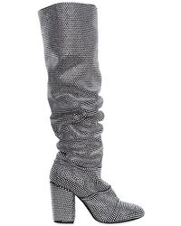 Strategia | 90mm Crystals Embellished Suede Boots | Lyst