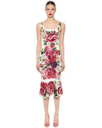 Dolce & Gabbana - Floral Stretch Charmeuse Fitted Dress - Lyst