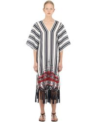Tory Burch - Embroidered Linen Caftan Dress - Lyst