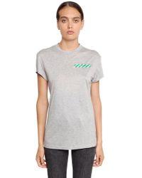 Off-White c/o Virgil Abloh - Striped Logo Stretch Jersey T-shirt - Lyst