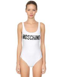 Moschino - Logo Print Lycra One Piece Swimsuit - Lyst