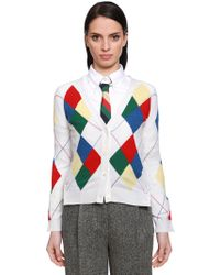 424e21f620 Thom Browne - Multicolour Argyle Cashmere Knit Cardigan - Lyst