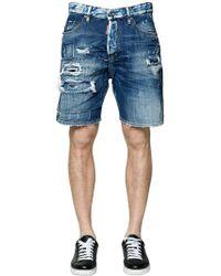 DSquared² - Shorts Aus Baumwolldenim Im Destroyed-look - Lyst